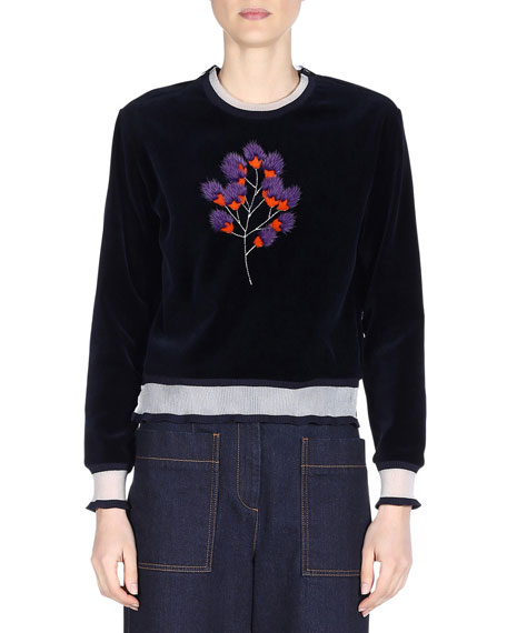 Mink-Embroidered Cropped Sweater, Lapis Lazuli