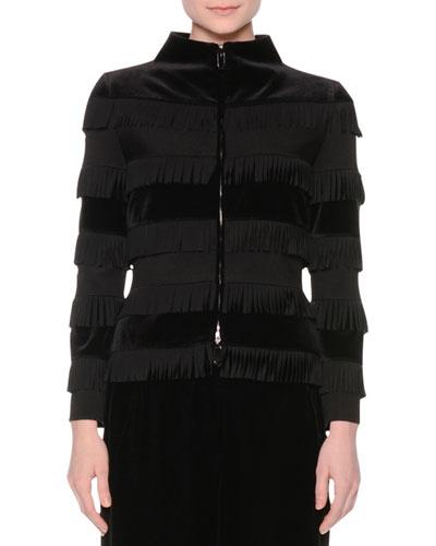 Zip-Front Tiered-Fringe Velvet Jacket, Black