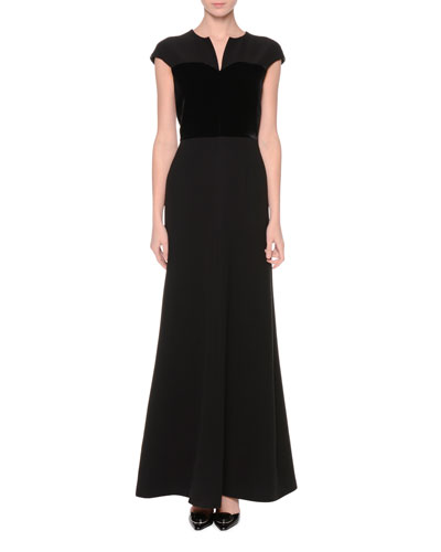 Split-Neck Cap-Sleeve Gown, Black