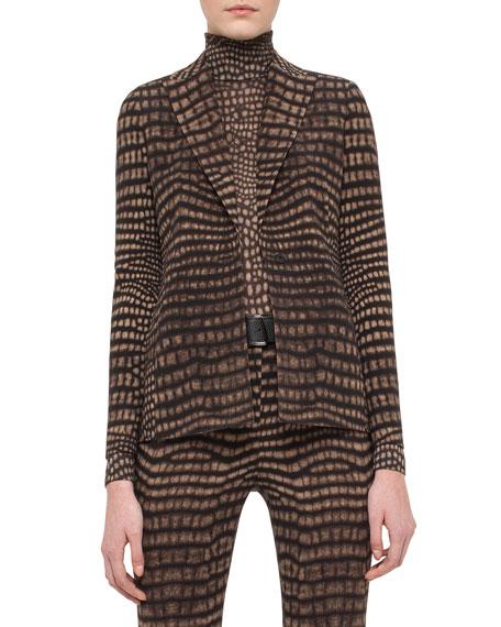 Cheetah-Print Godet-Back Jacket, Date/Steppe