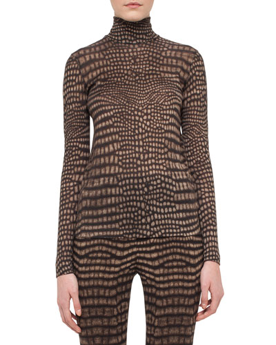 Cheetah-Print Turtleneck Sweater, Date/Steppe
