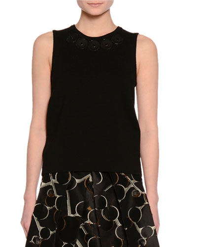 Sleeveless Embellished-Neck Top, Black