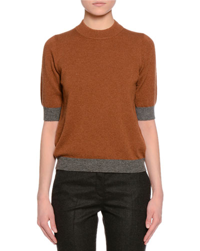 Half-Sleeve Jewel-Neck Two-Tone Sweater, Cognac/Gray