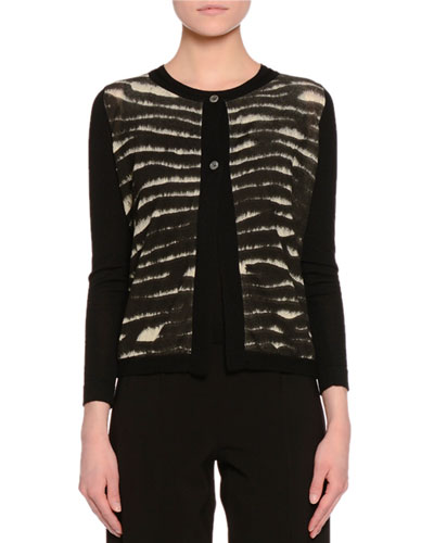 Animal Tie-Dye Cardigan, Black/Tan