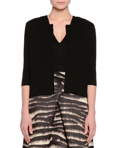 Elbow-Sleeve Slim-Fit Cardigan, Black