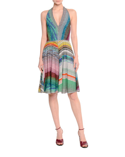 Halter-Neck Fit-&-Flare Dress, Multi Colors