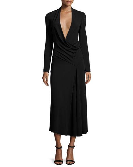 Cushnie Et Ochs Long-Sleeve Draped-Front Midi Dress, Black