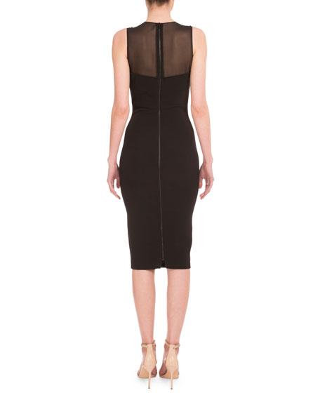 Illusion Sweetheart-Neck Sheath Dress, Black