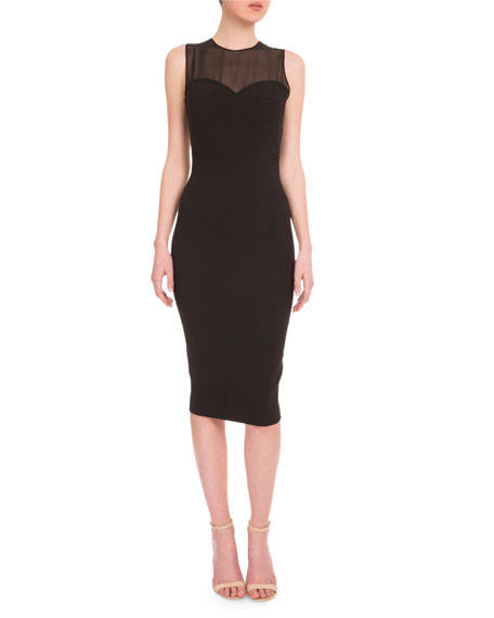 Illusion Sweetheart-Neck Sheath Dress, Black