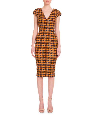 Cap-Sleeve Geometric-Print Dress