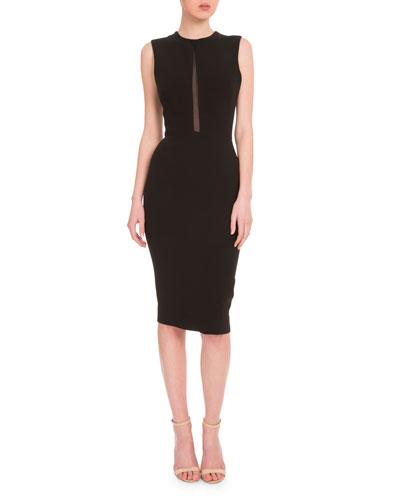 Victoria Beckham Sleeveless Mesh-Inset Sheath Dress, Black