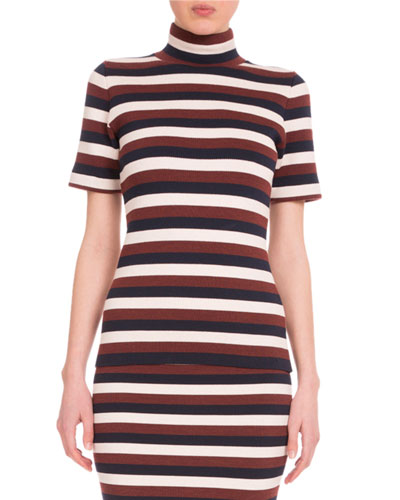Short-Sleeve Striped Top, Multi Colors