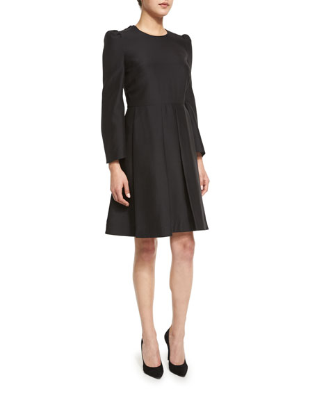 Co Box-Pleat Long-Sleeve Dress, Black