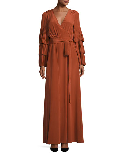Pleated Tiered-Sleeve Wrap Gown, Burnt Sienna