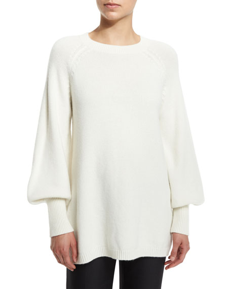 Co Cashmere Peasant-Sleeve Sweater, Ivory