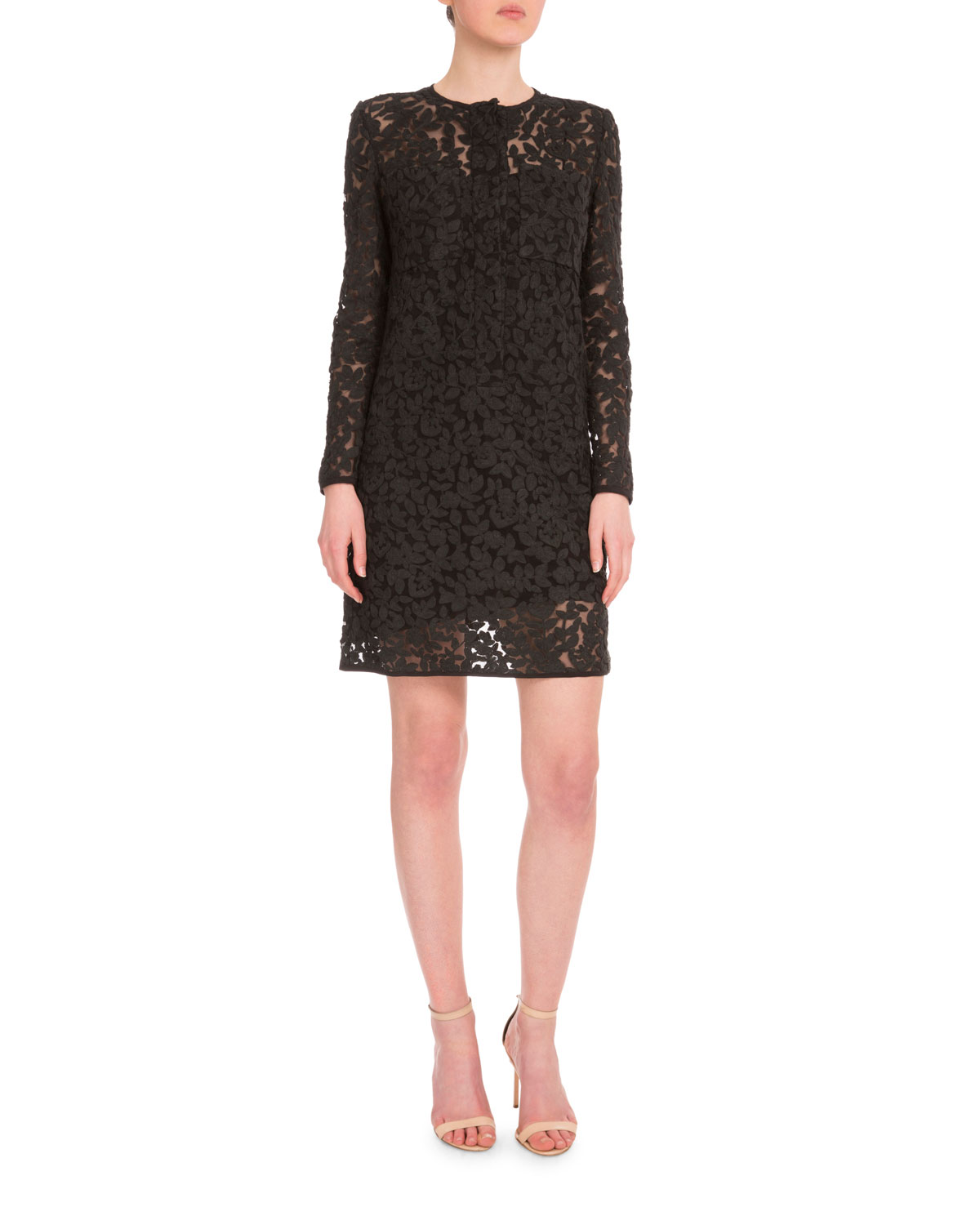 a332fcd94 Victoria by Victoria BeckhamLong-Sleeve Embroidered Shift Dress, Black