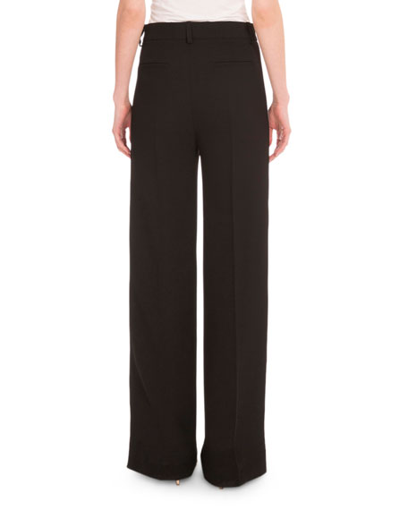 Victoria by Victoria Beckham High-Waist Relaxed-Fit Tuxedo Pants, Black