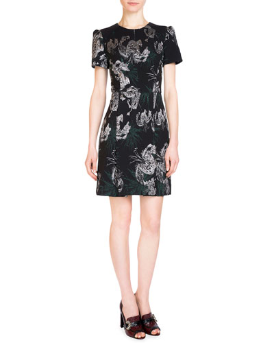 Aubrey Metallic-Embroidered Dress, Black/Silver