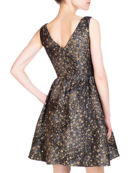 Kenya Bateau-Neck Metallic Dress, Gold/Blue
