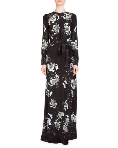 Agnes Long-Sleeve Belted Gown, Black/White