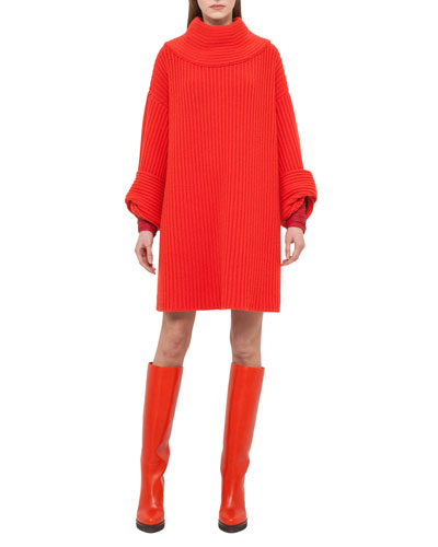 Mock-Neck Ribbed Tunic Dress, Red