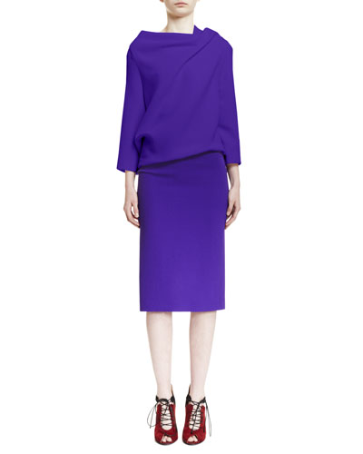 Oscar 3/4-Sleeve Draped Top, Purple