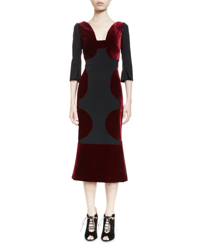Bald Half-Sleeve Combo Midi Dress, Burgundy/Black