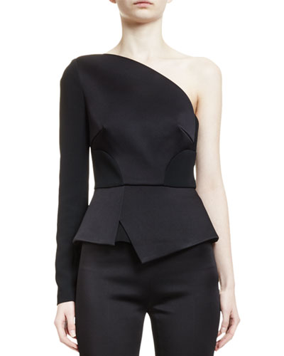 Dry One-Shoulder Fitted Peplum Top, Black