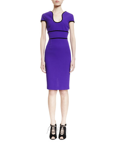 Marett U-Neck Sheath Dress, Purple