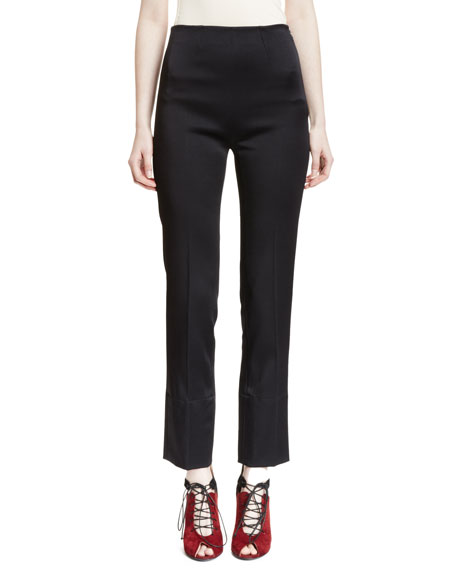 Donne High-Waist Skinny Ankle Pants, Black