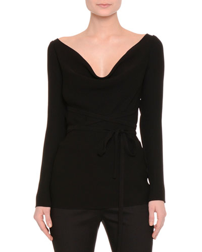 Long-Sleeve Draped-Neck Belted Top, Black