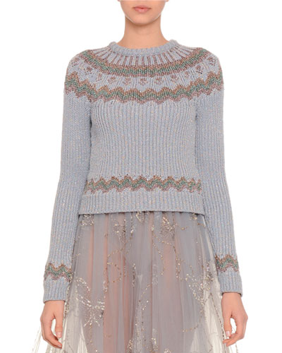 Fair Isle Crewneck Sweater, Perla Blue