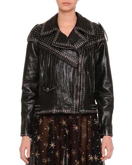 Asymmetric Zip-Front Leather Moto Jacket, Black