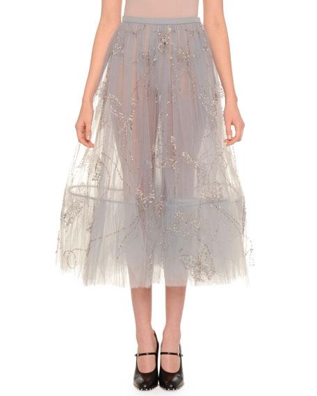 Metallic-Embroidered Full Midi Skirt, Arctic Blue