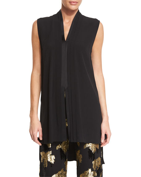 Pleated Sleeveless V-Neck Tunic, Black