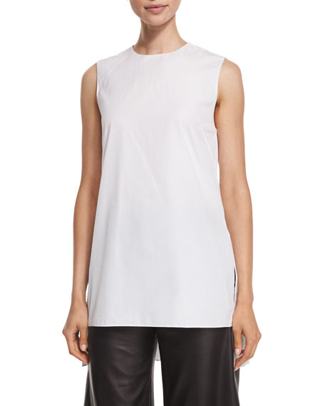 Adam Lippes Pleated-Black Sleeveless Tunic, White