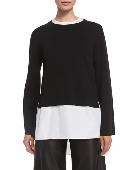 Adam Lippes Double-Faced Bell-Sleeve Top, Black