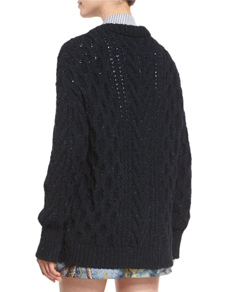 Marled Cable-Knit Long-Sleeve Cardigan, Navy