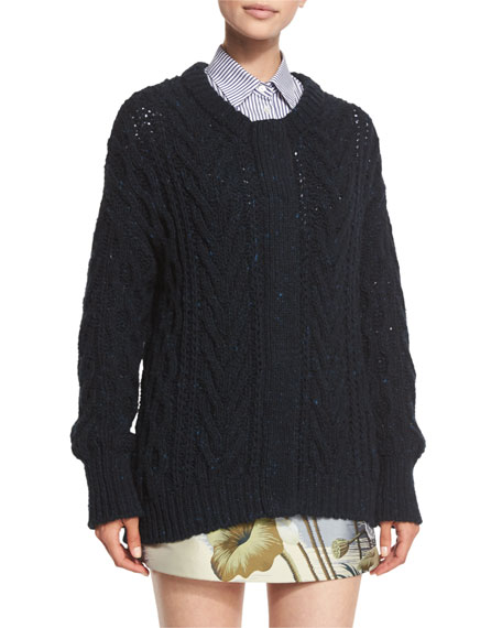 Adam Lippes Marled Cable-Knit Long-Sleeve Cardigan, Navy
