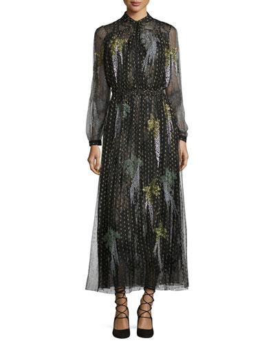 Metallic Point d'Esprit Long-Sleeve Gown, Black/Gold