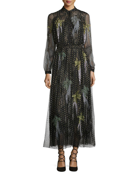 Metallic Point d'Esprit Long-Sleeve Gown, Black/Gold