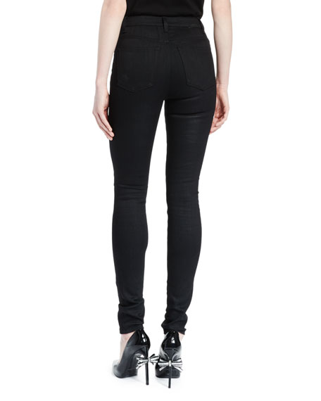 High-Waist Five-Pocket Skinny Jeans, Black