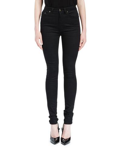High-Waist Five-Pocket Skinny Jeans, Black