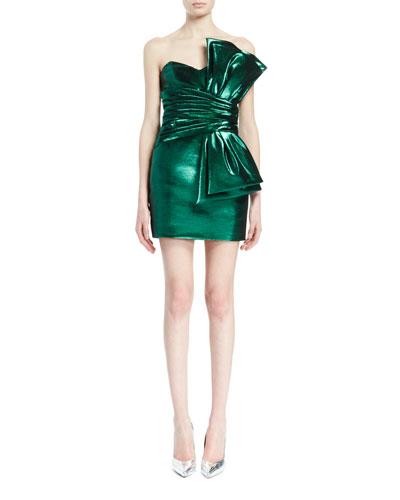 Strapless Shirred-Waist Dress W/Bow, Metallic Green