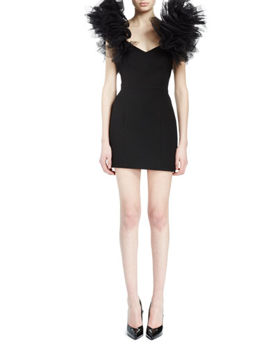 Tulle-Sleeve V-Neck Mini Sheath Dress, Black