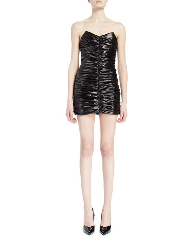 Strapless Shirred Mini Dress, Black