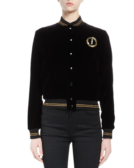 Bomber Jacket W/ Metallic-Striped Trim, Black