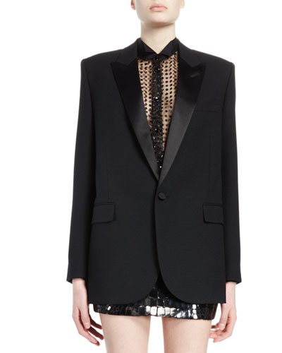 Peak-Lapel One-Button Tuxedo Coat, Black