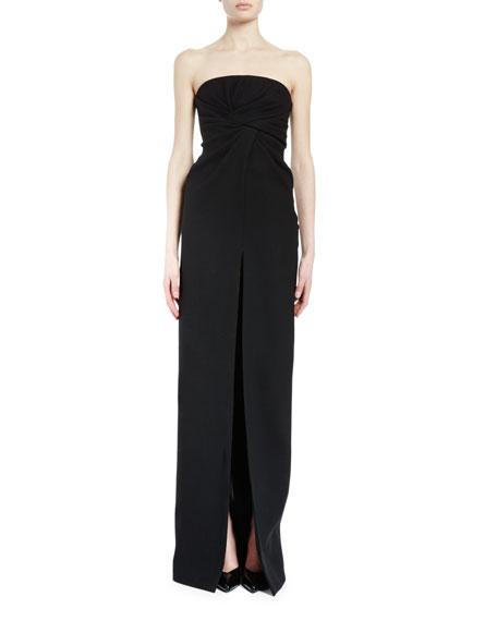 Strapless Twist-Front Column Gown, Black