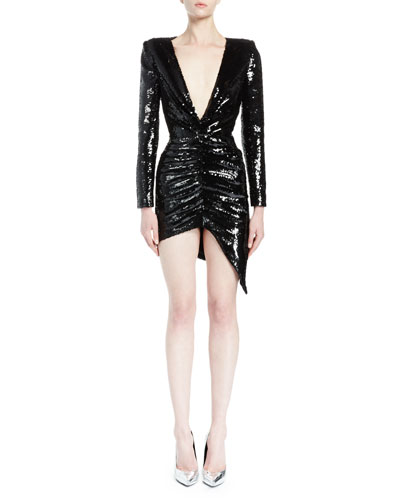 Long-Sleeve Shirred Wrap-Effect Dress, Black